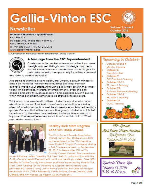 Gallia-Vinton - Newsletter Snapshot