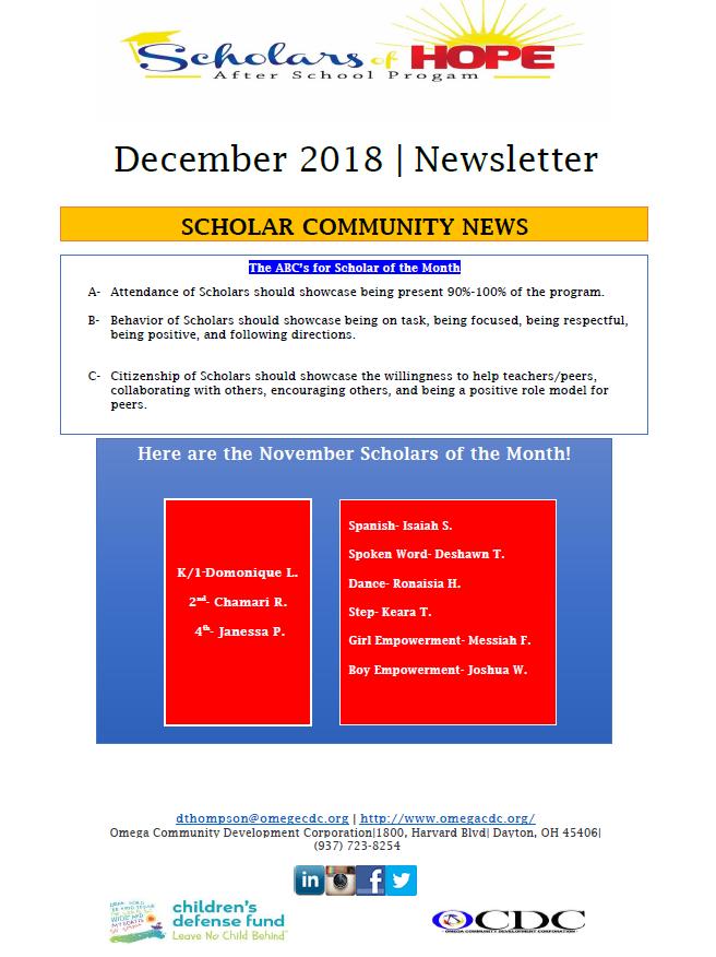omega december newsletter