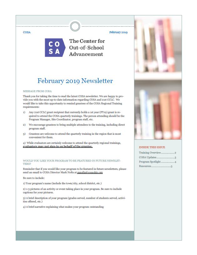 COSA Newsletter - February 2019