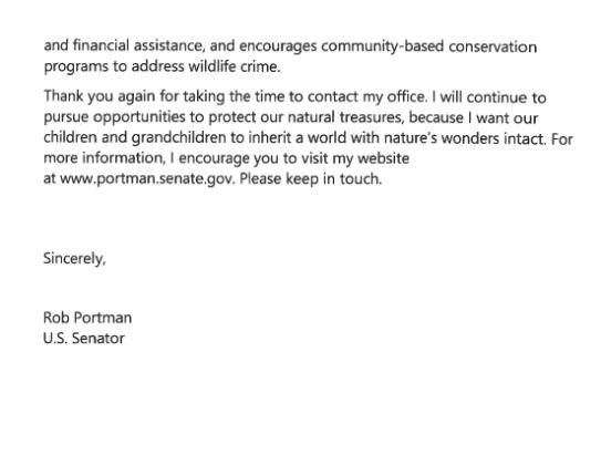 Letter from Senator Portman 2