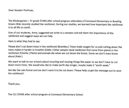 Letter to Senator Portman