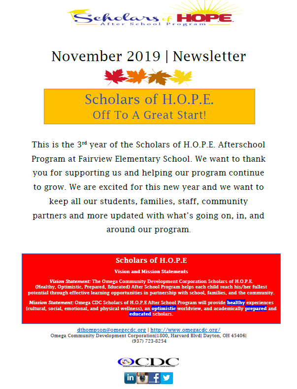Omega - November 2019 Newsletter Clip