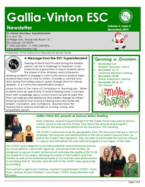 Gallia-Vinton ESC - December 2019 Newsletter