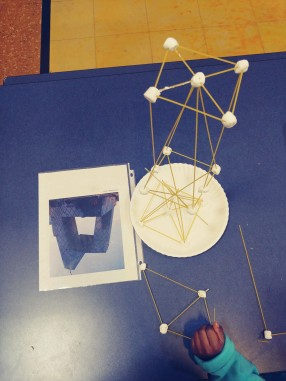 STEAM project engineering activity completed with marshmallows & spaghetti